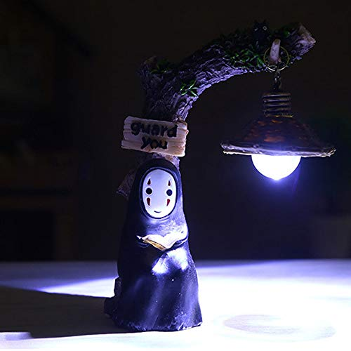 Kimkoala Spirited Away Figures, Cute Studio Ghibli Miyazaki No Face Man with Night Lamp Light Action Figure Toys for Children Gift for Home Garden Decoration (Reading)