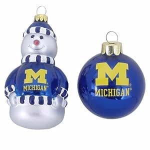 NCAA Michigan Wolverines Snowman and Ball Mini Blown Glass Ornaments