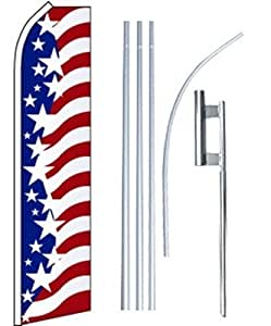 Swooper Flutter Flag plus Pole & Ground Spike USA Blue Red White