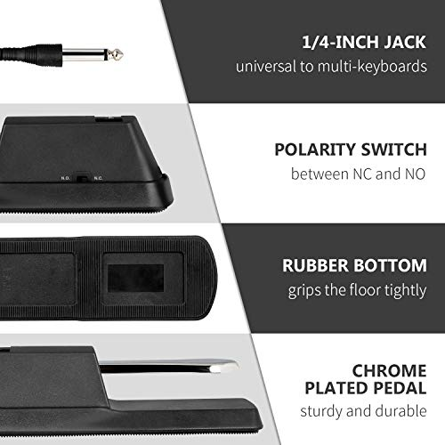 Mugig MY-1 Universal Sustain Pedal, Piano Foot Pedal for Electronic Keyboards, MIDI Keyboards, Digital Piano (1/4-inch Jack)