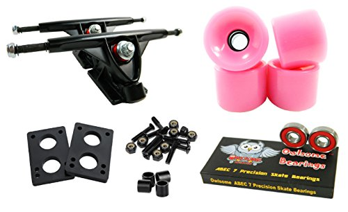 Longboard 180mm Trucks Combo w/ 70mm Wheels + Owlsome ABEC 7 Bearings (Solid Pink) (Pink Skateboard Trucks)