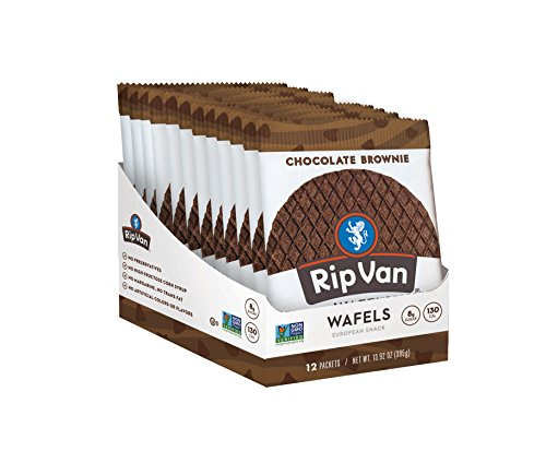 Rip Van Wafels Non-GMO Snack Wafels, Chocolate Brownie, 12 Count, Low Calorie & Low Sugar