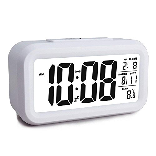 MUTANG Despertador Digital Inteligente Escritorio Grande 4.6'' Pantalla LCD Despertador con Temperatura de Calendario Snooze...