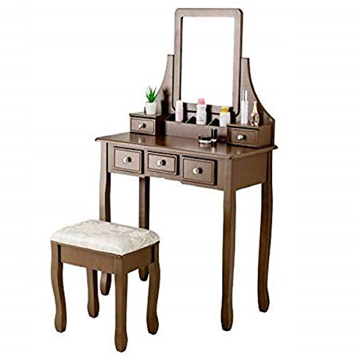 Mecor Makeup Vanity Table Set, Dressing Table w/Square Mirror Women Girls Vanity Set with Cushioned Stool&5 Drawers,3 Removable Dividers Bedroom Makeup Table Brown (Bedroom Girls Vanity)