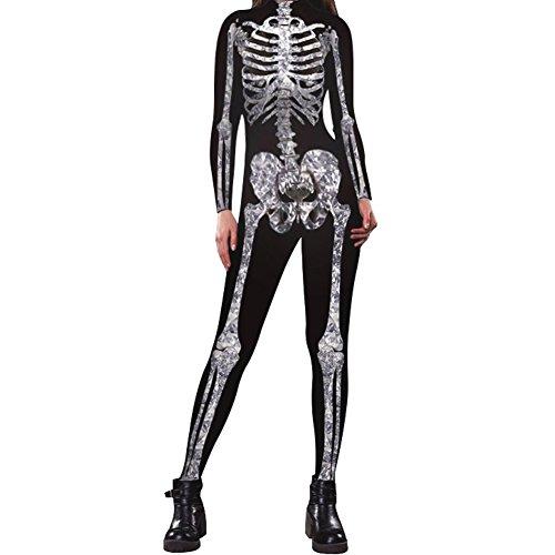 Slim Bloom Women's Adult Skeleton Halloween Costume - Skeleton Jumpsuit Onesie Bodysuit