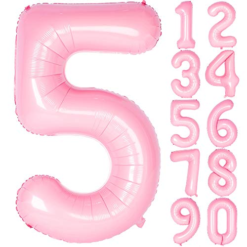 40 Inch Tiffany Pink Numbers 0-9 Birthday Party Decorations Helium Foil Mylar Number Balloon Digital 5