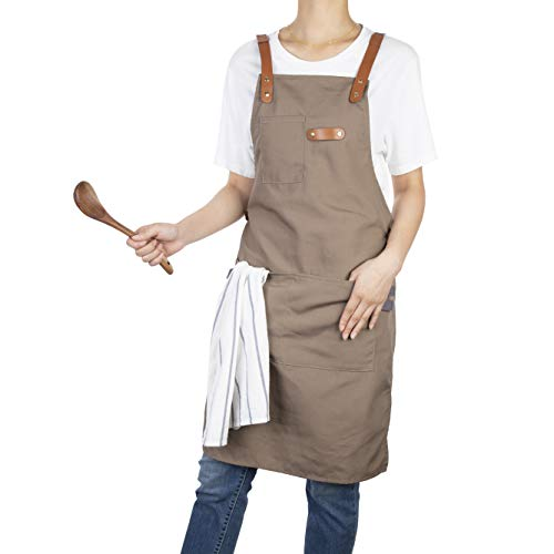 Neoviva Canvas Leather Apron with Pockets and Towel Loop, Adjustable Cross-Back Straps Work Apron for Adults, Style Drew, Indian Latte ()