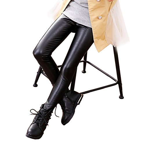 DREAMOWL Kids Girls Black Faux Leather Leggings Eye-Catching Style Tights (3-12)