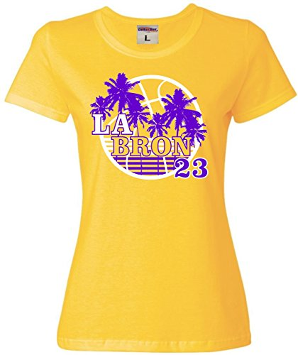 Go All Out Small Yellow Womens LA Bron Los Angeles 23 T-Shirt