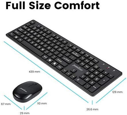 PERIXX PERIDUO-717 WIRELESS STANDARD KEYBOARD AND MOUSE COMBO-SET WITH BIG PRINT LETTER, BLACK, US ENGLISH LAYOUT