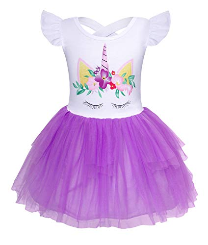 Cotrio Little Girls Sleeveless Unicorn Tutu Tulle Birthday Them Party Fancy Dress Flower Girl Dresses Size 4T (3-4Years, -