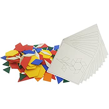Plastic Pattern Blocks Activity Pack | Educational Toy With 125 Blocks + 12 Patterns Design Cards