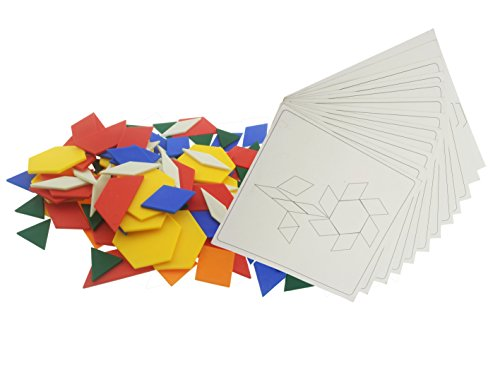 - Plastic Pattern Blocks Activity Pack | Educational Toy With 125 Blocks + 12 Patterns Design Cards