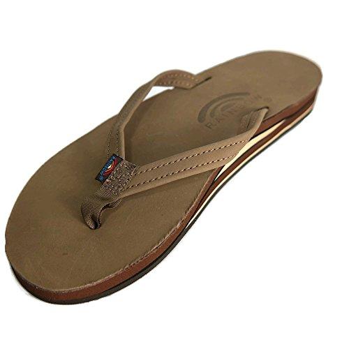 Rainbow Girls Sandals (Rainbow Sandals Women's Premier Leather Double Stack Narrow Strap Dark Brown Size Small (5.5-6.5))
