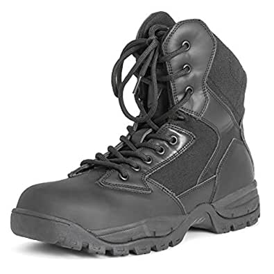 Mens Mil Safety Leather Work Durable Rubber Sole Steel Toe Cap Boots - Black - EU40/US7 - DR0040