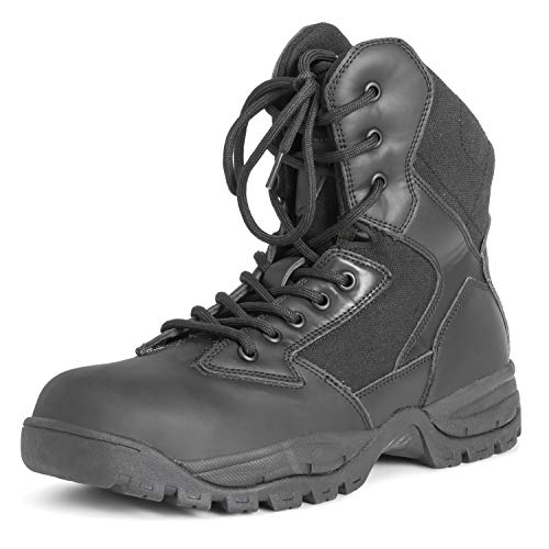 Mens Mil Safety Leather Work Durable Rubber Sole Steel Toe Cap Boots - Black - EU46/US13 - DR0040 -