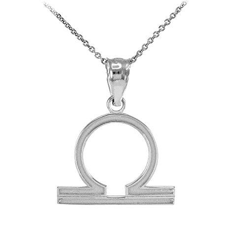 Collier Femme Pendentif 10 Ct Or Blanc Balance Zodiaque Signe (Livré avec une 45cm Chaîne)