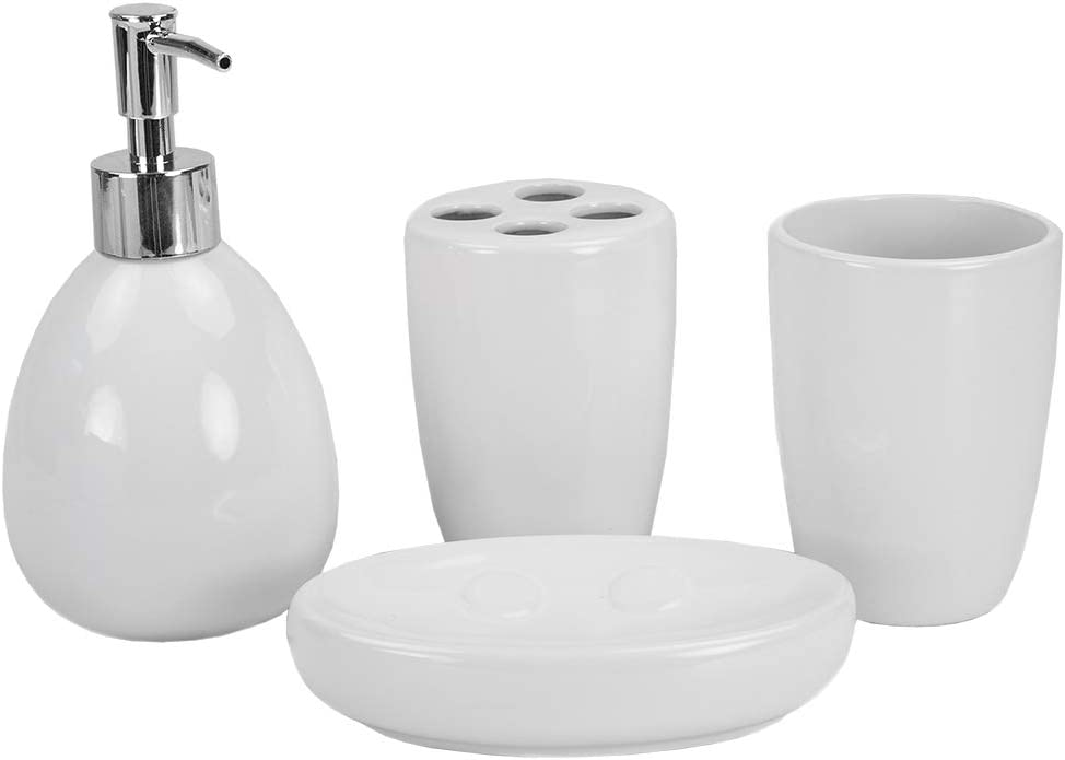 Home Basics 4Pc Bath Accessory Set White