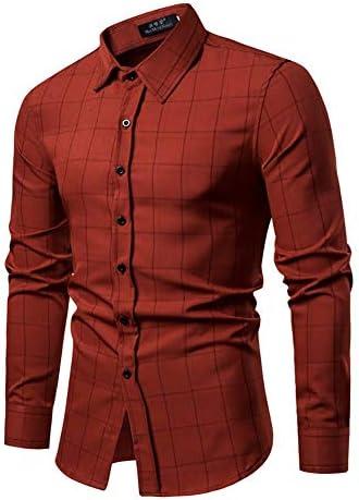 メンズシャツ、スリムフィット長袖チェック柄のビジネスチェックカジュアルドレスダウン襟ボタンダウンスーツ英国スタイリッシュ (色 : ワインレッド, サイズ : XL)