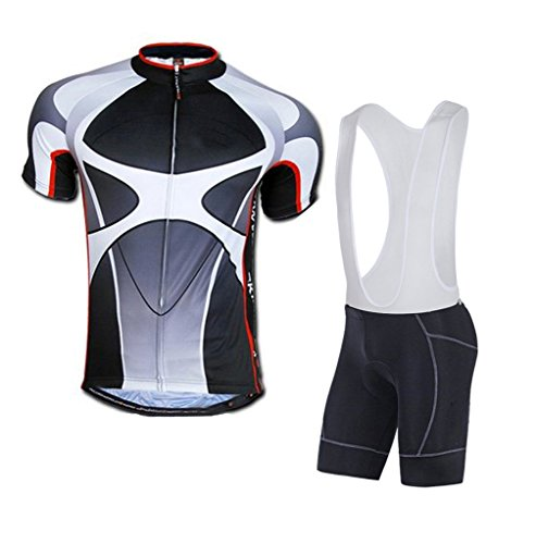 sponeed Men's Cycle Bib Shorts Padded Bike Riding Kits Outfit Asia L/US M Gray ()