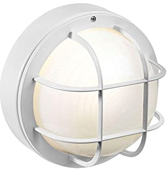 white incandescent round nautical flush mount light with grille. Black Bedroom Furniture Sets. Home Design Ideas