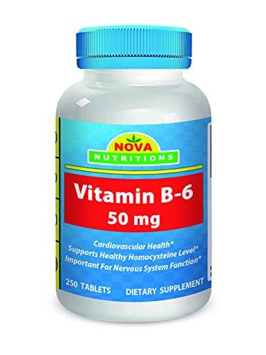 Vitamin B6 50 mg 250 Tablets by Nova Nutritions