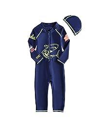 Liny Boys Swimsuit Swimwear One Piece Kids SPF 50+ UV Rash Guard Wetsuit Swim Costume