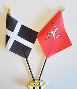"""Cornwall y de la isla de Man amistad Bandera de mesa pantalla 25cm (10"""")"""