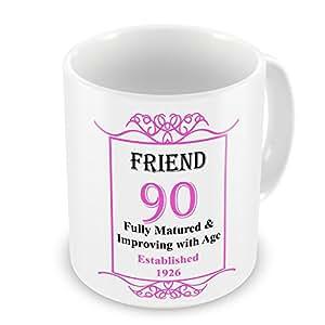 Amigo 90th cumpleaños establecido 1926años–taza rosa
