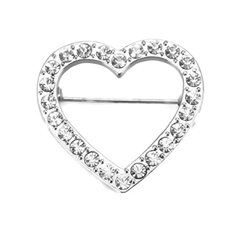 Sparklers Silver Tone Genuine Austrian Crystal Heart Pin Brooch