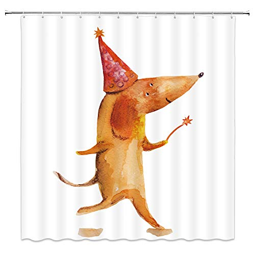 Rat Shower Curtain Cartoon Funny Animal Decor Happy Mouse Walking with Christmas Hat Magic Wand Waterproof Citrus Fabric Bathroom Hooks Included 70x70 Inch