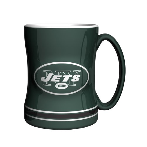 - NFL New York Jets Sculpted Relief Mug, 14-ounce, Green