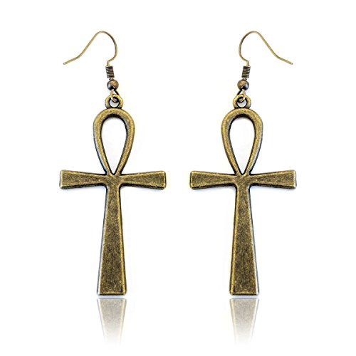 Golden Goddess Egyptian Costume - Antiqued Golden Egyptian Ankh Drop Earrings