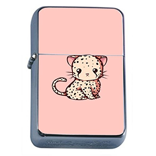 Cute Cheetah Flip Top Oil Lighter Em1 Smoking Cigarette Silver Case Included