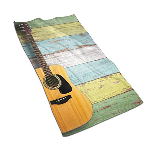 OBILITDREAM Acoustic Guitar On Colorful Painted Face Towel,Hand Towel,Kitchen Towels-Dish 3D Design Pattern Towel,Towels for The Kitchen,Cleaning,Cooking,Baking 15.7x27.5in (Hand Painted Lavender Planter)