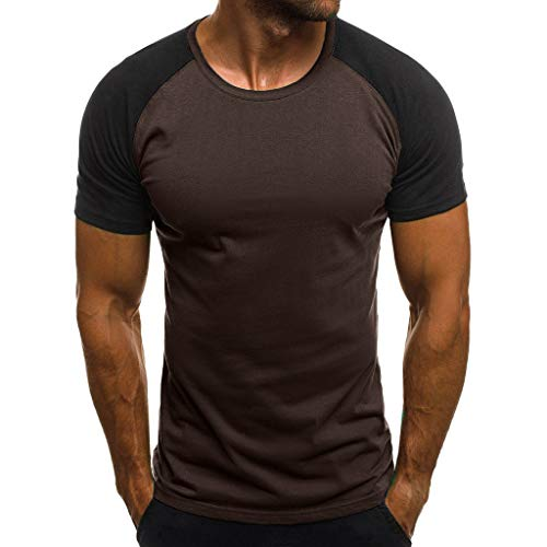 Men's Casual Raglan Block Short Sleeve T-Shirts Slim Fit Stretch Crew Neck Wicking Baseball Tee Tops (XL, X-Brown)