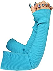 Share Maison Women's Winter Fingerless Stretchy Cashmere Wool Gloves Long Arm Warmers Fashion Sleeves (2-l