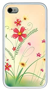 Cool Flowers Grass TPU White Case for iphone 4S/4