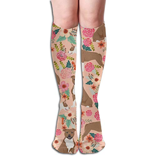 (Staffordshire Terrier Dog Cute Florals Vintage Flowers Sweet Dog Dogs Pet Dog Peach Men's Women's Cotton Crew Athletic Sock Running Socks Soccer Socks 19.7 inch)