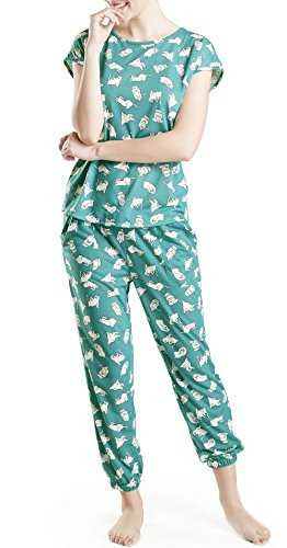 Lounge Women Pajamas Set - Pajamas for Women, Short Sleeve and Jogger Pants Sleepwear Set, Yoga Cat Print Medium