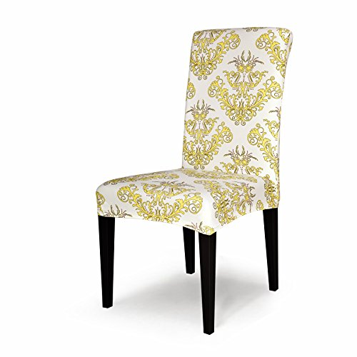 TIKAMI 1PCS Spandex Printed Fit Stretch Dinning Room Chair Slipcovers (1, Yellow) (Yellow Wingback Chair)