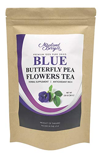 (MiralandBerry Dried Butterfly Pea Flowers, (2.8Oz), Premium QualityThai Herbal Tea, Antioxidants Rich, Ideal for Tea Deserts Beverage)