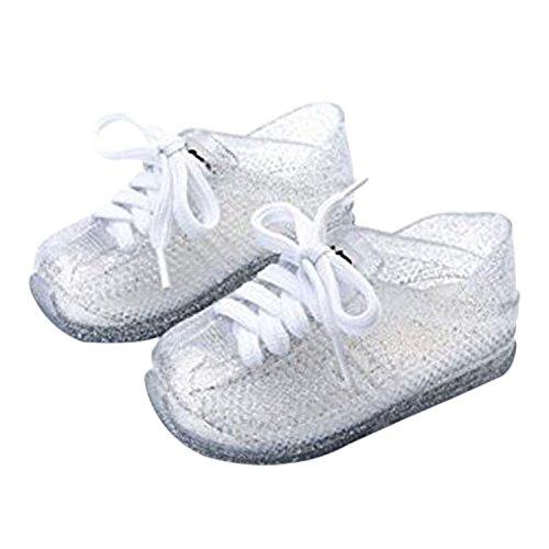 Meijunter Kinder Baby Mädchen Jungen Freizeit Anti-Rutsch Weich Gelee Riemen Lässige Flache Schuhe Kleinkind Strand Sandalen Regen Stiefel Silber