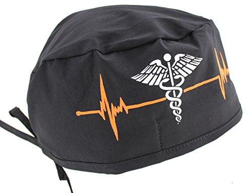 (Hiphopville Black Heart Beat EKG & Caduceus Symbol Scrub Cap Hat)