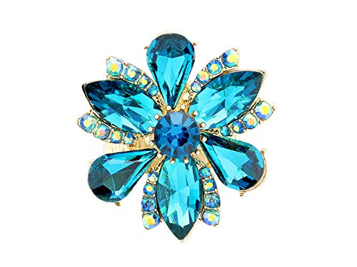 Occasions Gift Giving Marquise Flower Glass Stone Stretch Cocktail Ring (Blue Zircon)