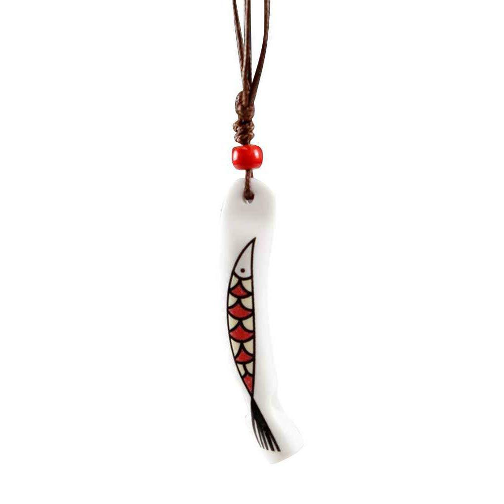 Fornateu Chinses Vento Whistle Ceramica Collana Donne Moda Regolabile Maglione Lungo Catena Handmade della Student Whistle