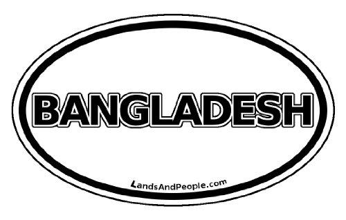 Bangladesh Car Bumper Sticker Decal Oval Black and White