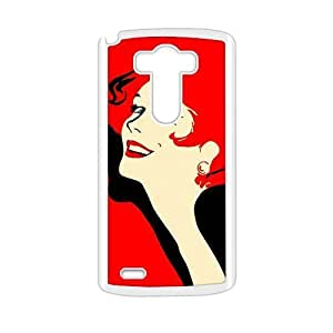 Personalized Clear Phone Case For LG G3,charming woman with red hair background