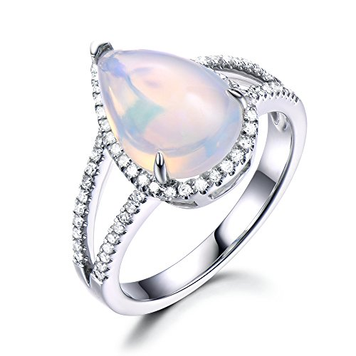 Opal Engagement Ring Pear Shaped 8x10mm CZ Diamond Halo Split Shank 925 Sterling Silver White Gold Plated by Milejewel Opal Engagement Ring