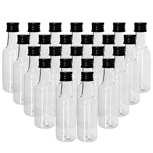 BELLE VOUS Liquor Bottles (24 Pcs)- Mini 55ml Plastic Empty Liquor Bottles with Black Cap and Liquid Funnel for Pouring Liquid in Bottles - Great for Weddings, Party Favors, Arts, Paints and Events by BELLE VOUS (Image #1)
